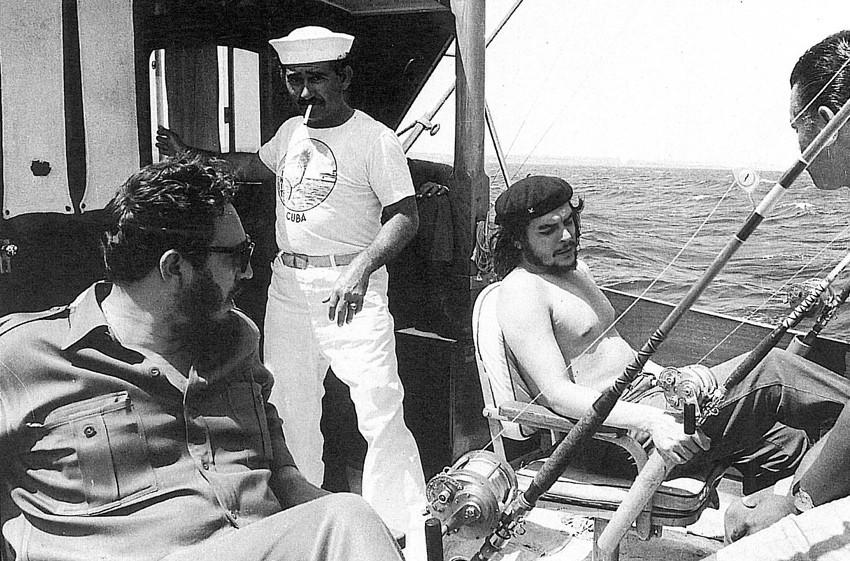 Che Guevara and Fidel Castro fishing, 1960