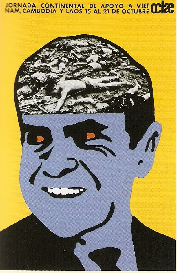 Poster indicting a sinister looking President Nixon as responsible for the deaths of civilians after American bombing in Vietnam, Cambodia, and Laos. (USA)