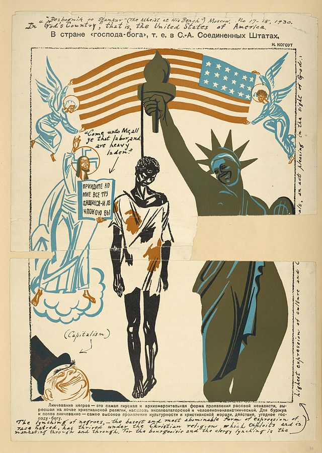Soviet poster showing a black American being lynched and hanging off of the Statue of Liberty