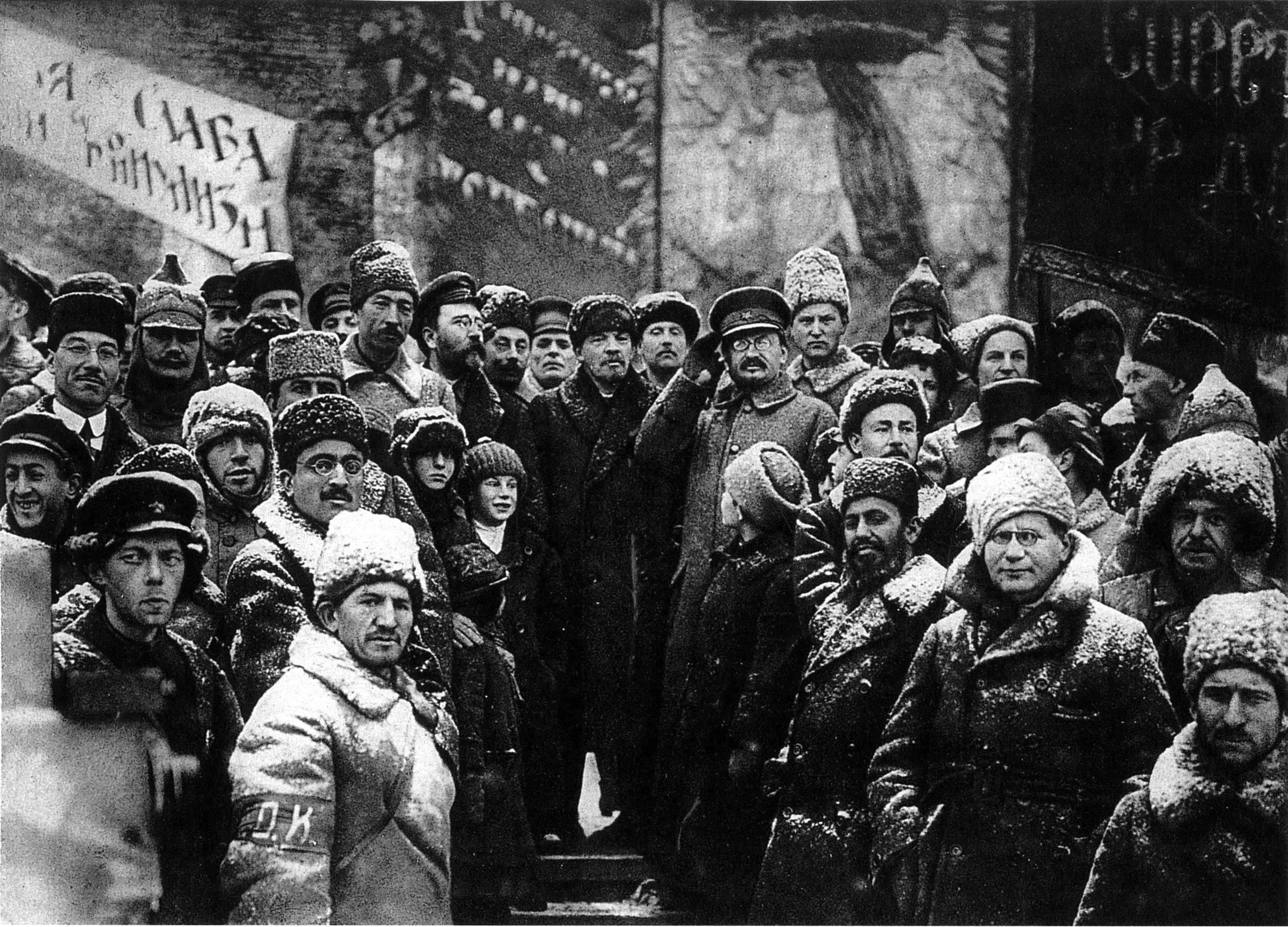 socialism hectic dialectics vladimir lenin and other soviet leaders celebrating the second anniversary of the revolution in red