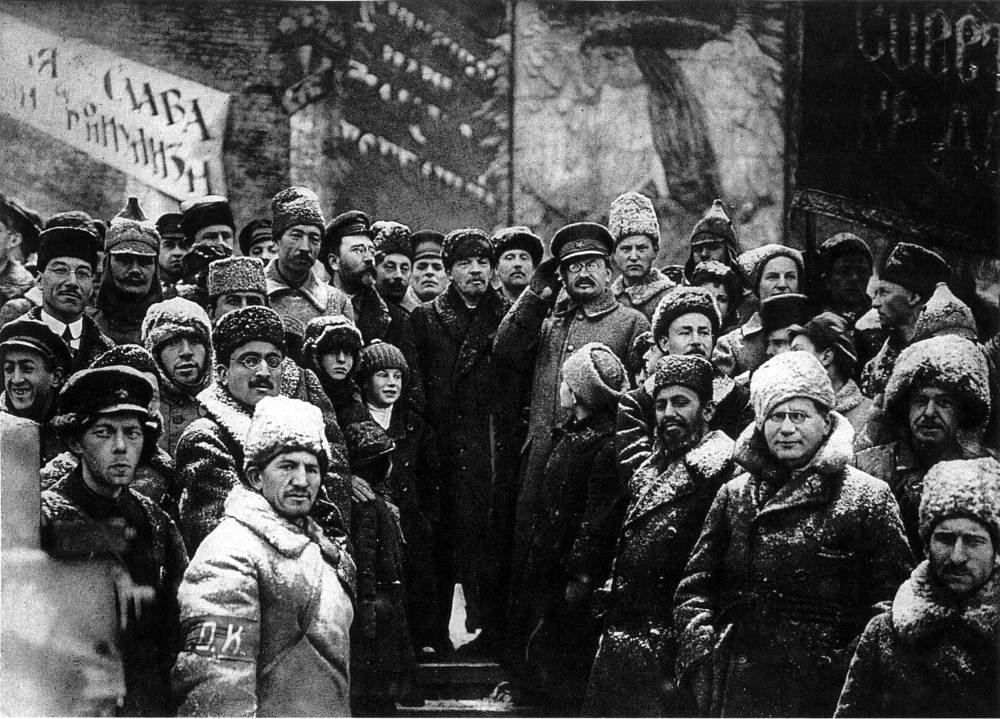 Vladimir Lenin and other Soviet leaders celebrating the second anniversary of the October Revolution in Red Square, Moscow, 1919